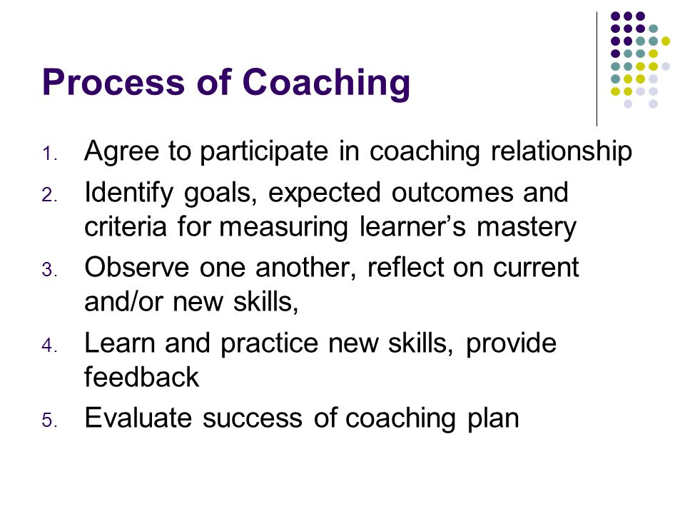 Process of Coaching Agree to participate in coaching relationship
