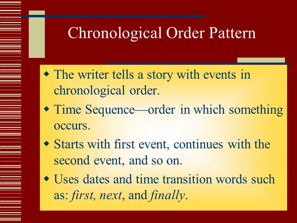 Chronological Order Pattern