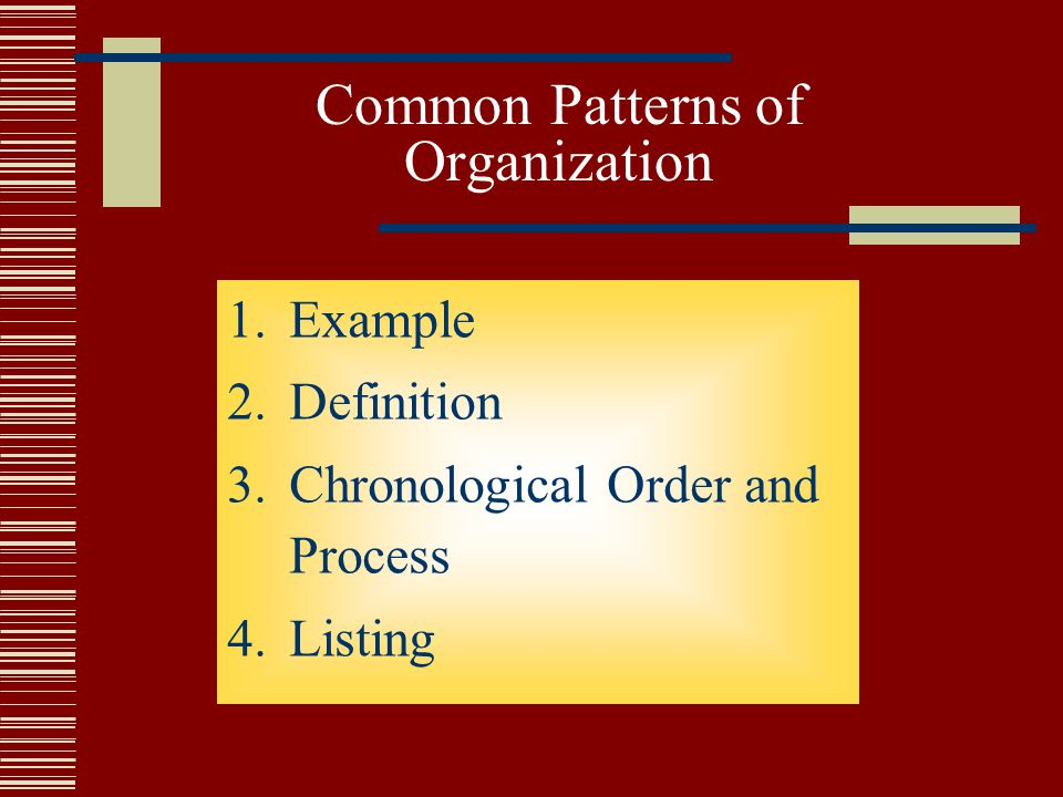 common patterns of essay organization The block method essay is a part of comparison or contrast essay in the comparison and contrast essay, there are two common writing patterns or organization patterns, which a writer uses.
