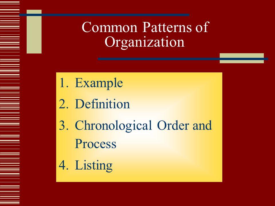 Common Patterns of Organization