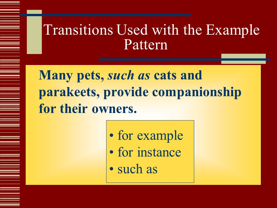 Transitions Used with the Example Pattern