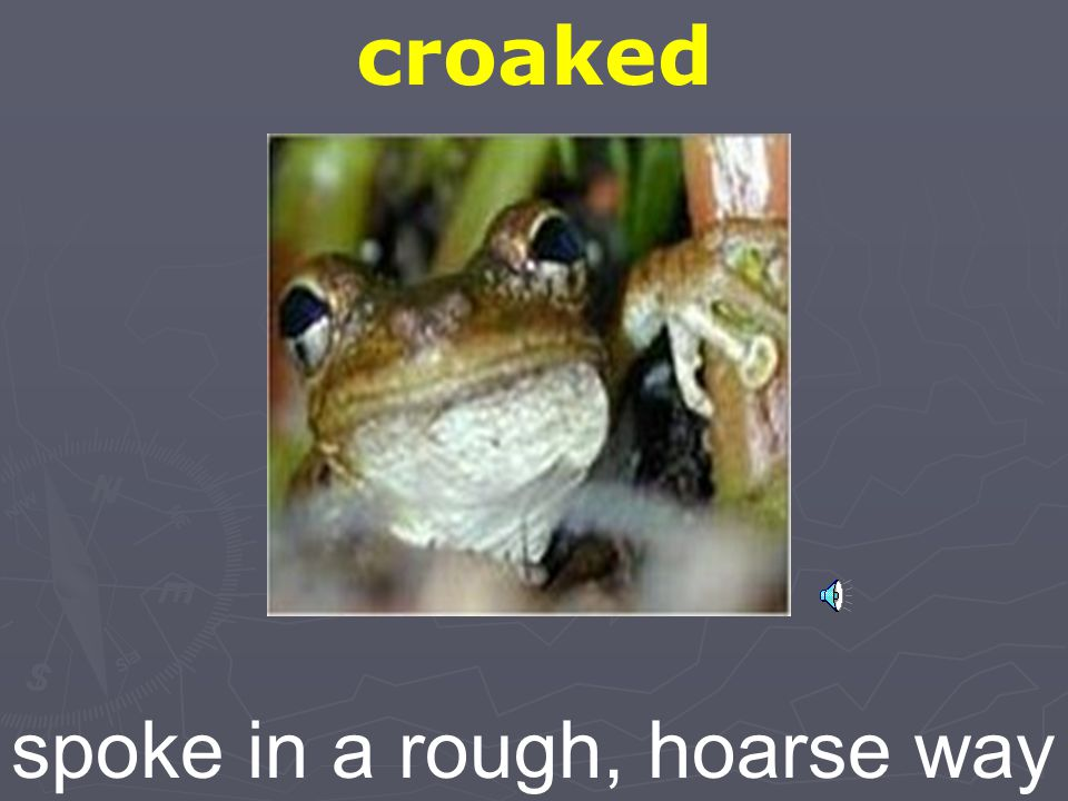 croaked spoke in a rough, hoarse way