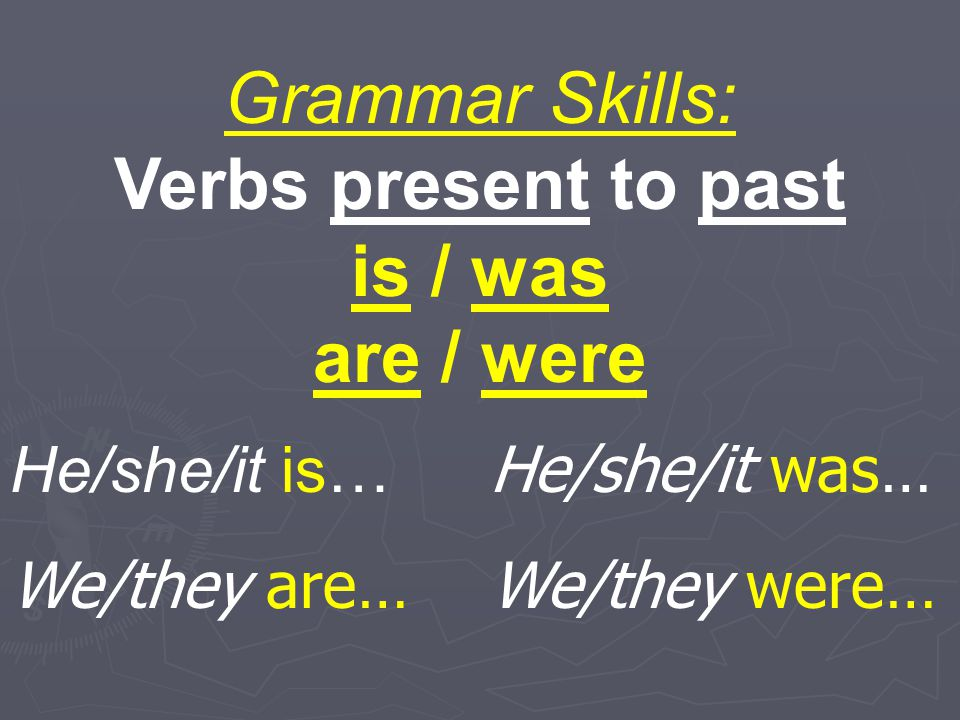 Verbs present to past is / was are / were