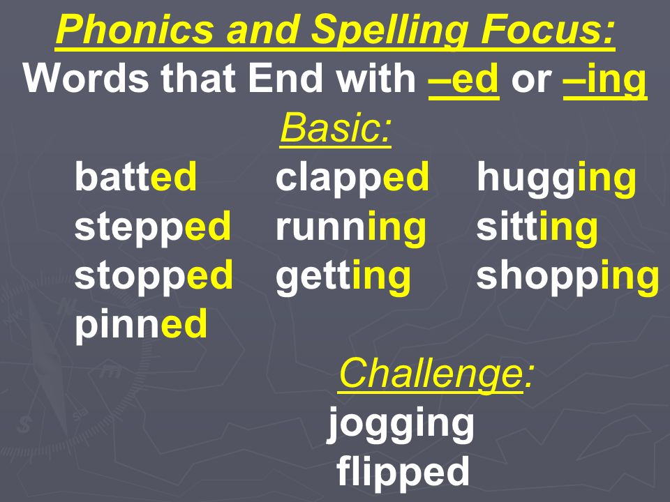 Phonics and Spelling Focus: Words that End with –ed or –ing