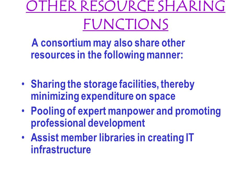 OTHER RESOURCE SHARING FUNCTIONS