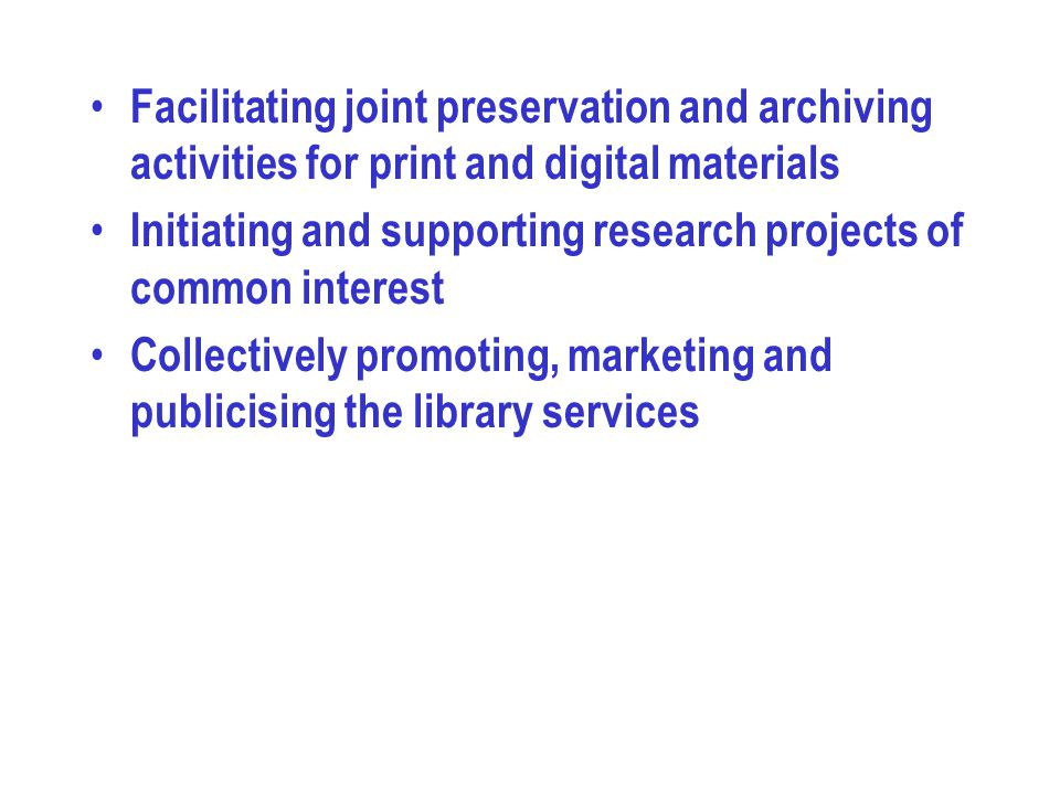 Facilitating joint preservation and archiving activities for print and digital materials