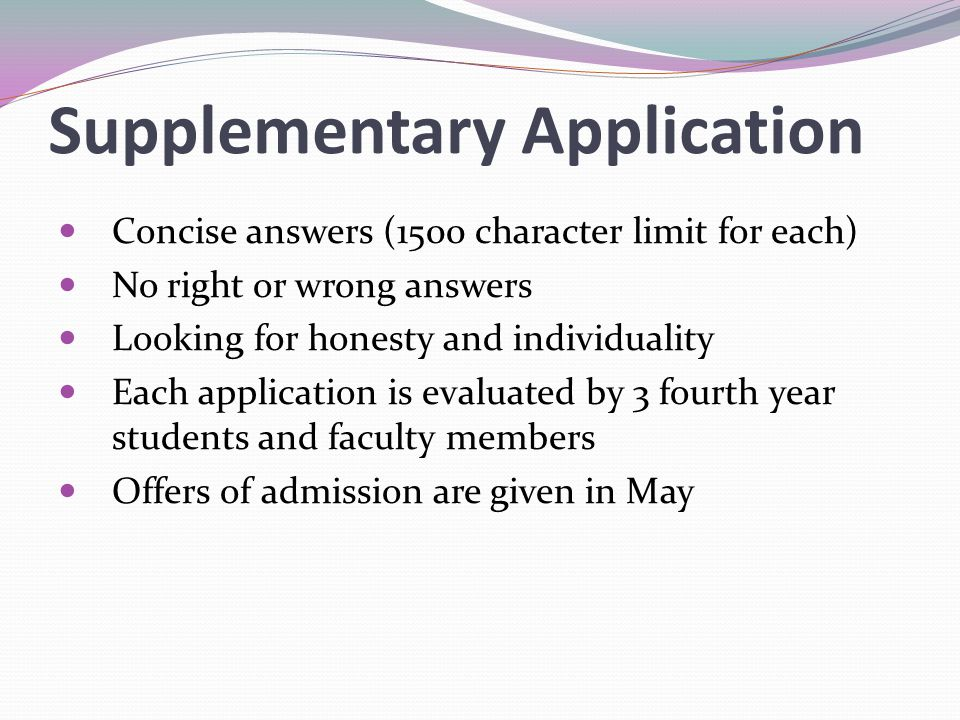 Supplementary Application