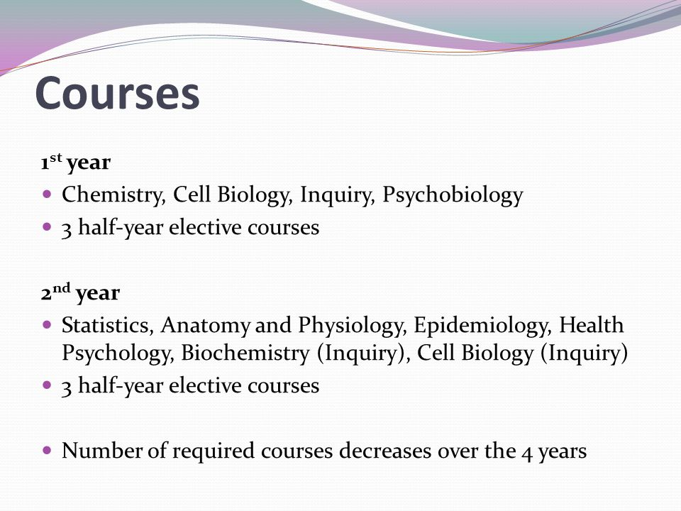 Courses 1st year Chemistry, Cell Biology, Inquiry, Psychobiology