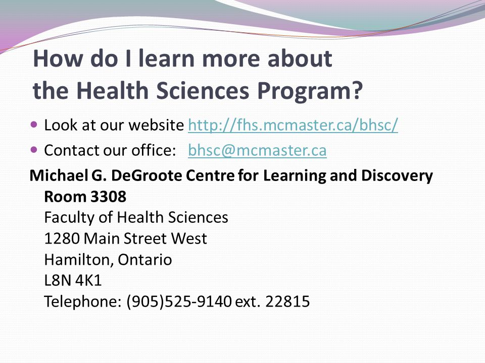 How do I learn more about the Health Sciences Program