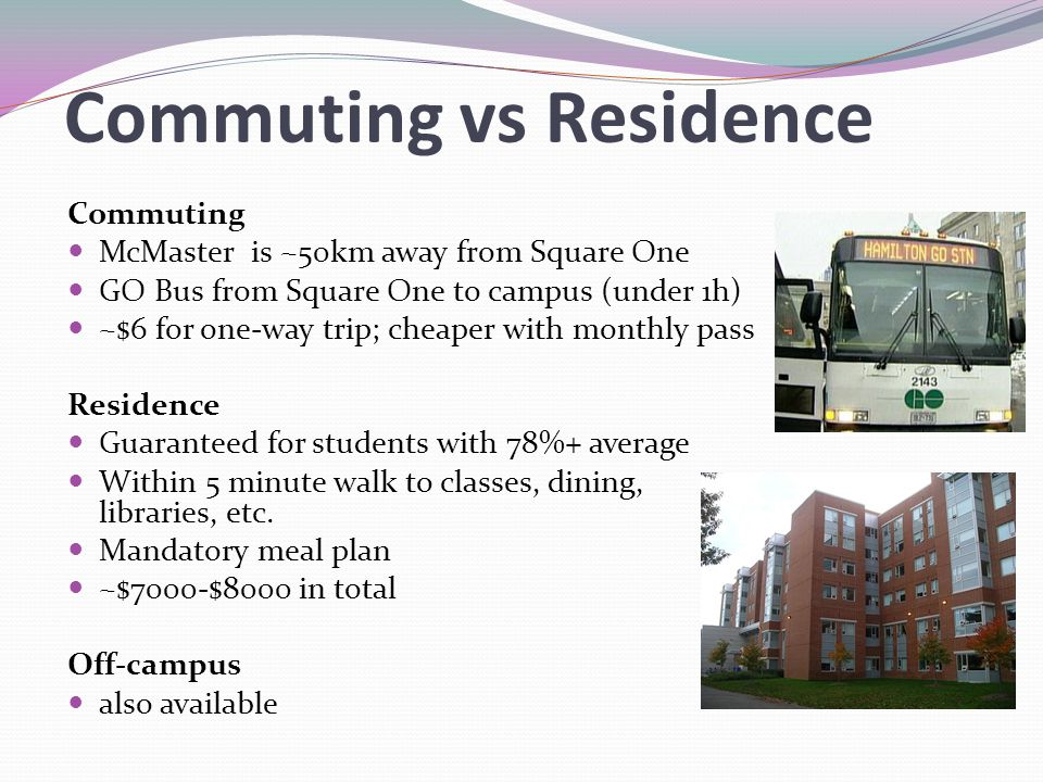 Commuting vs Residence