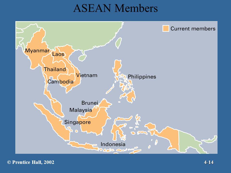 ASEAN Members © Prentice Hall, 2002 4-14