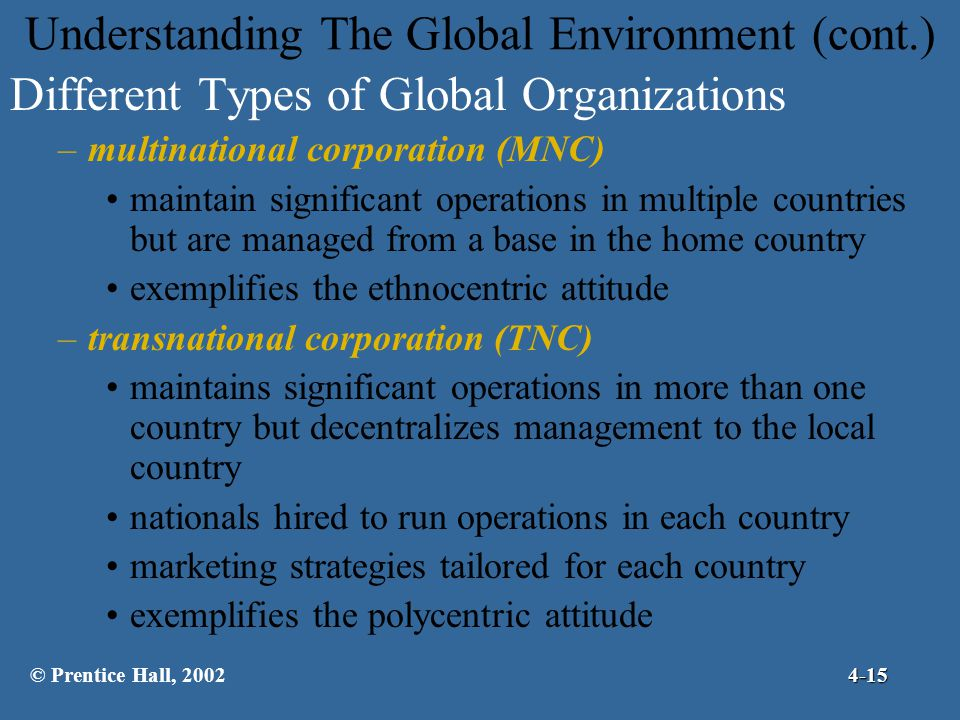 Understanding The Global Environment (cont.)