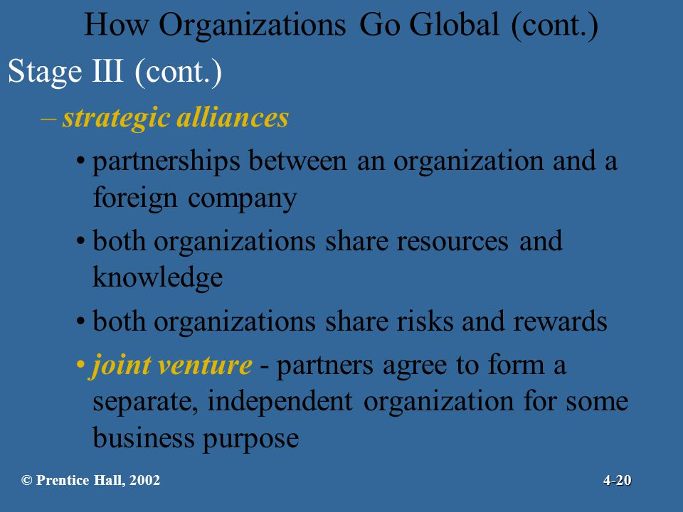 How Organizations Go Global (cont.)