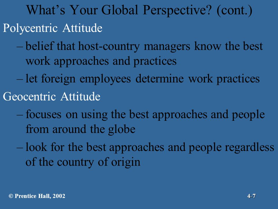 What's Your Global Perspective (cont.)