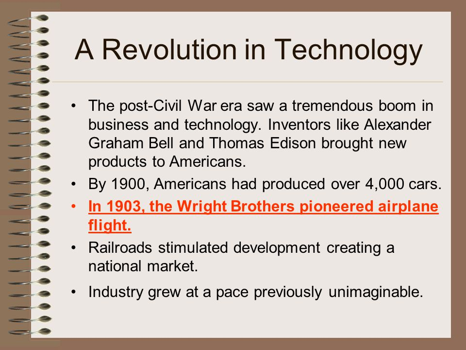 A Revolution in Technology