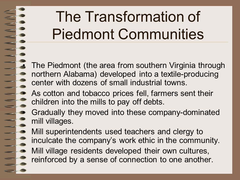 The Transformation of Piedmont Communities