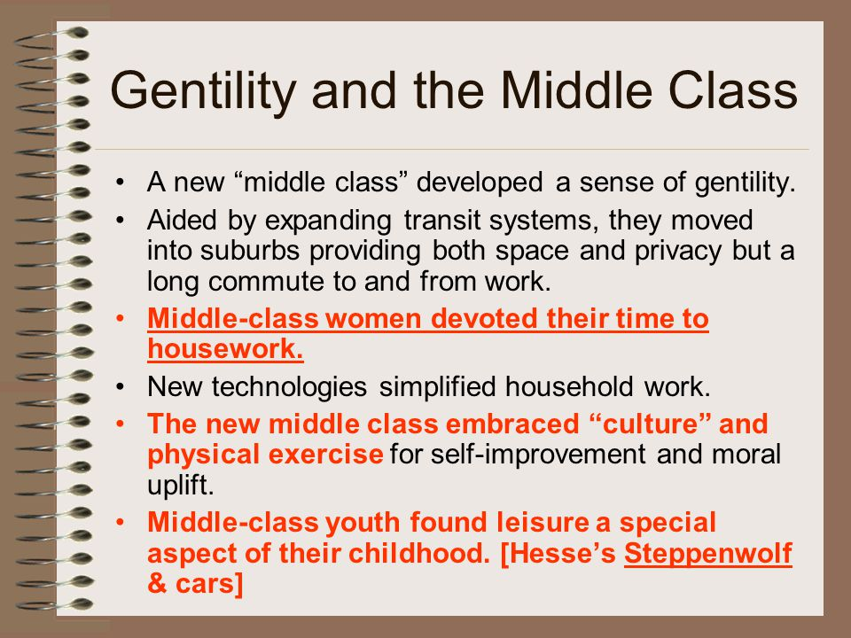 Gentility and the Middle Class