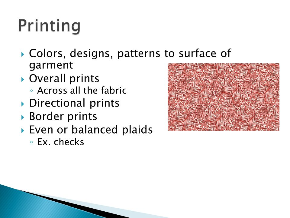 Printing Colors, designs, patterns to surface of garment