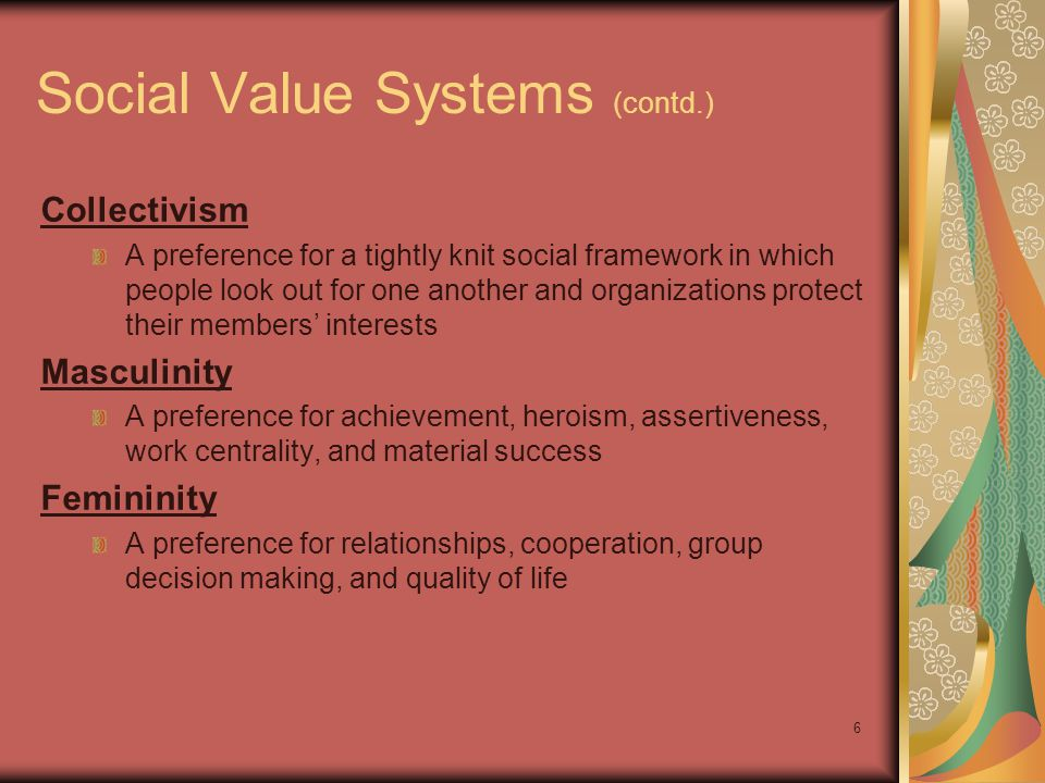 Social Value Systems (contd.)