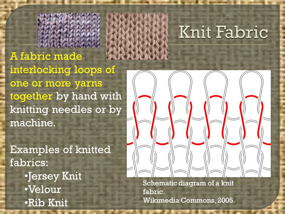 Knit Fabric A fabric made interlocking loops of one or more yarns together by hand with knitting needles or by machine.