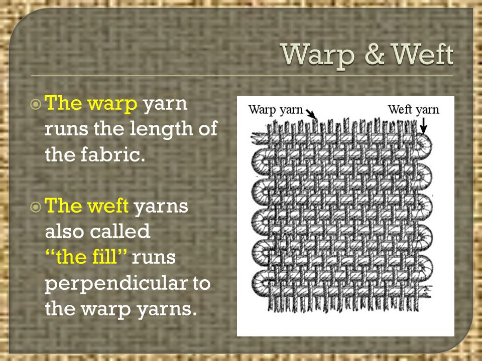 Warp & Weft The warp yarn runs the length of the fabric.