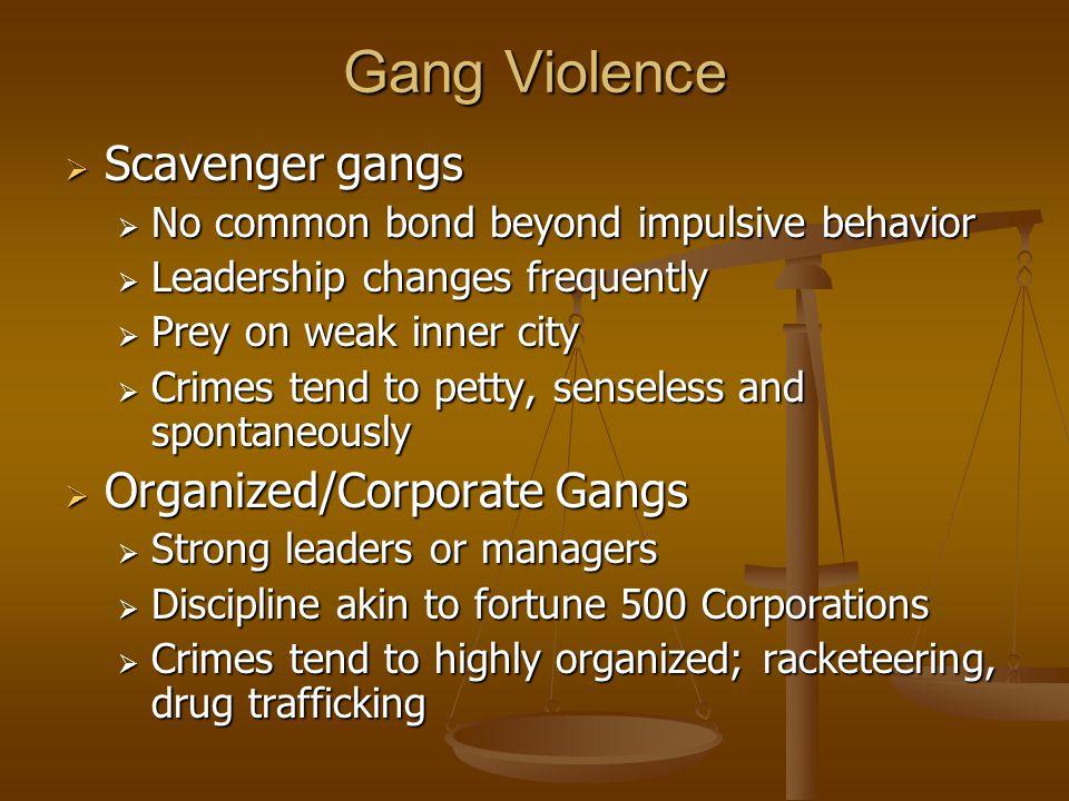 Gang Violence Scavenger gangs Organized/Corporate Gangs