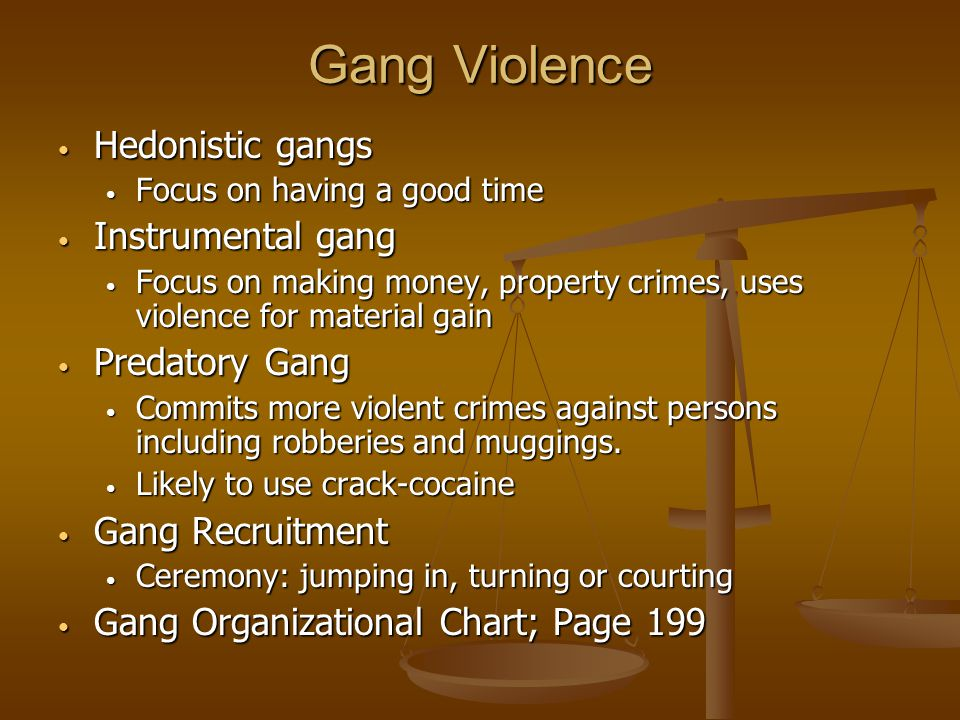 Gang Violence Hedonistic gangs Instrumental gang Predatory Gang