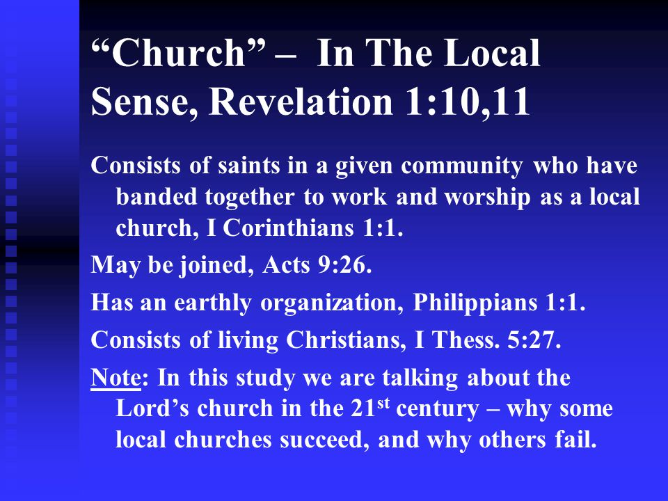 Church – In The Local Sense, Revelation 1:10,11