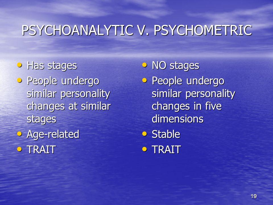 PSYCHOANALYTIC V. PSYCHOMETRIC