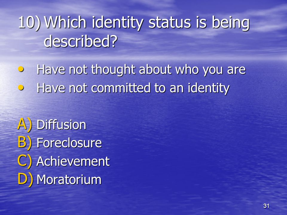 Which identity status is being described