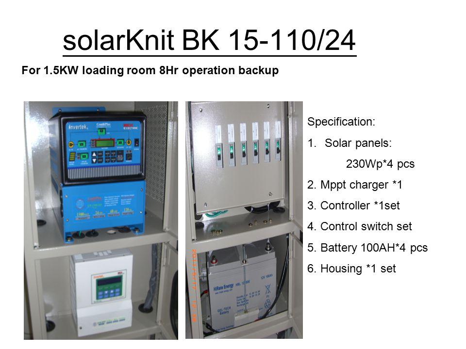 solarKnit BK 15-110/24 For 1.5KW loading room 8Hr operation backup