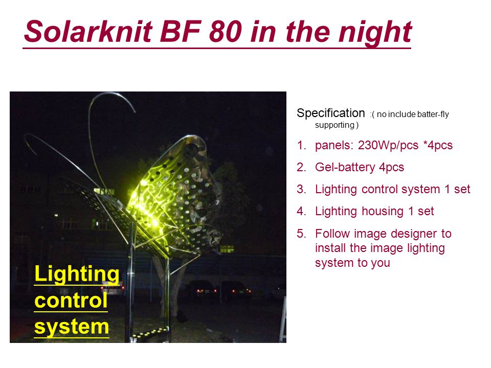 Solarknit BF 80 in the night