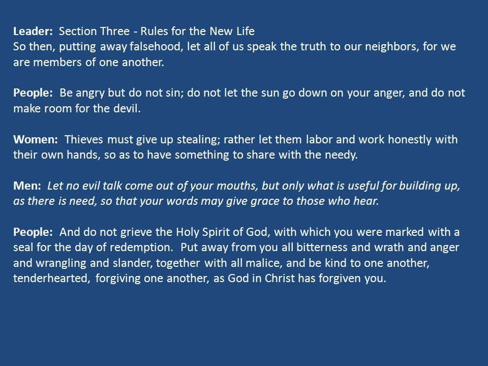 Leader: Section Three - Rules for the New Life
