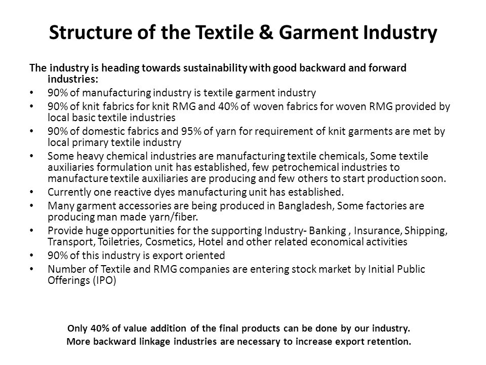 Structure of the Textile & Garment Industry