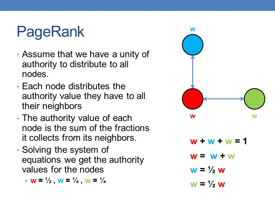 PageRank w. Assume that we have a unity of authority to distribute to all nodes.