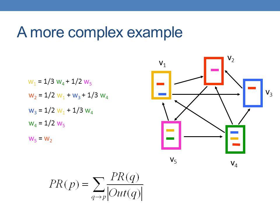A more complex example v2 v1 v3 v5 v4 w1 = 1/3 w4 + 1/2 w5