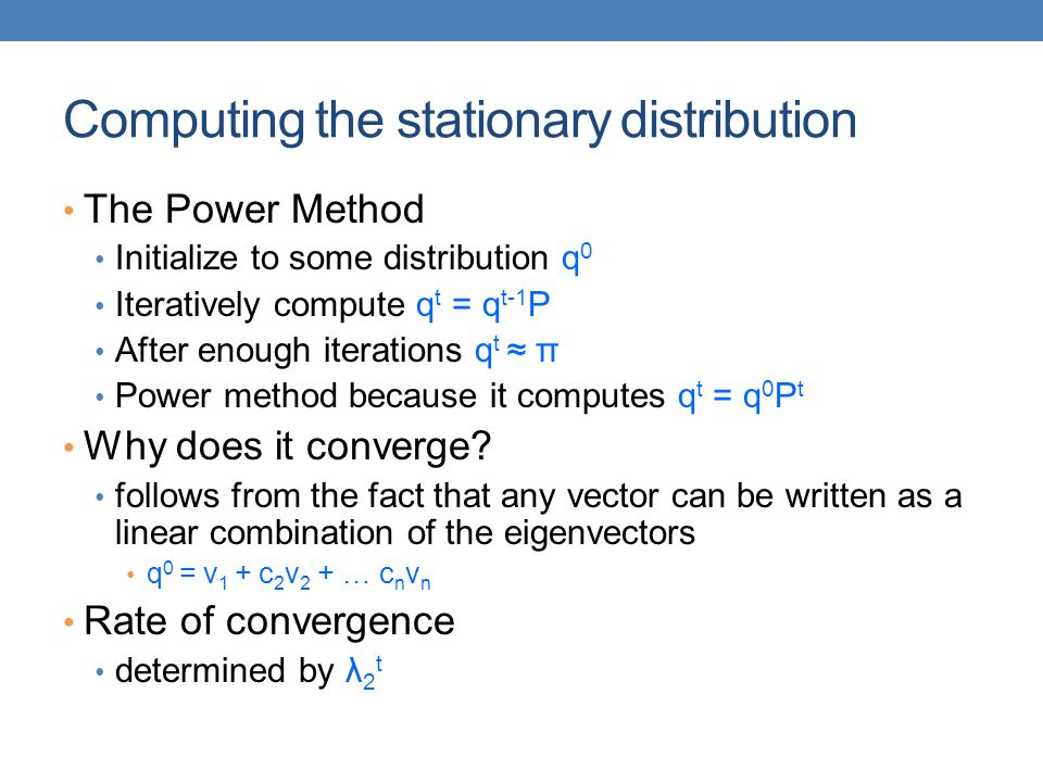 Computing the stationary distribution