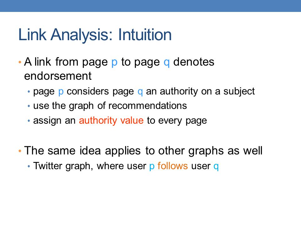 Link Analysis: Intuition
