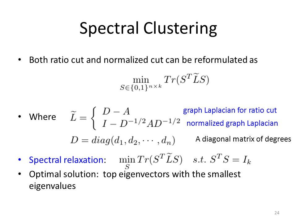 Spectral Clustering Both ratio cut and normalized cut can be reformulated as. Where. Spectral relaxation: