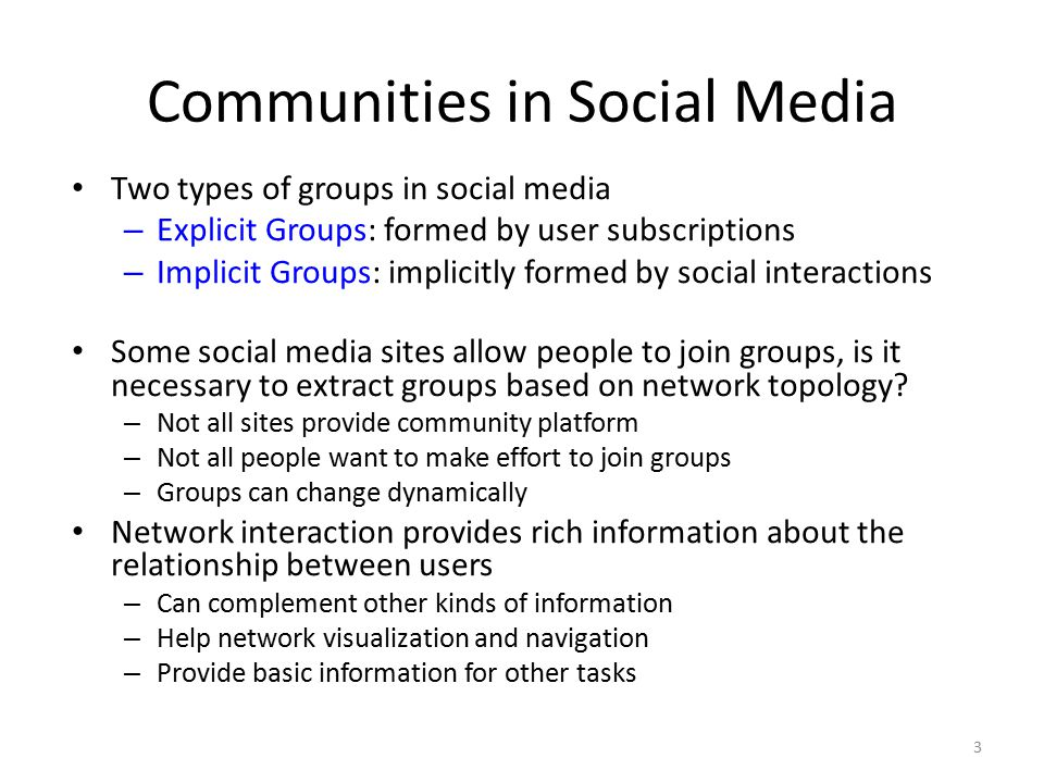 Communities in Social Media