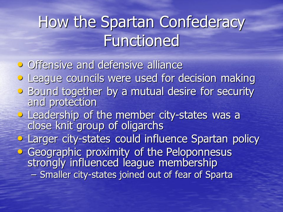 How the Spartan Confederacy Functioned