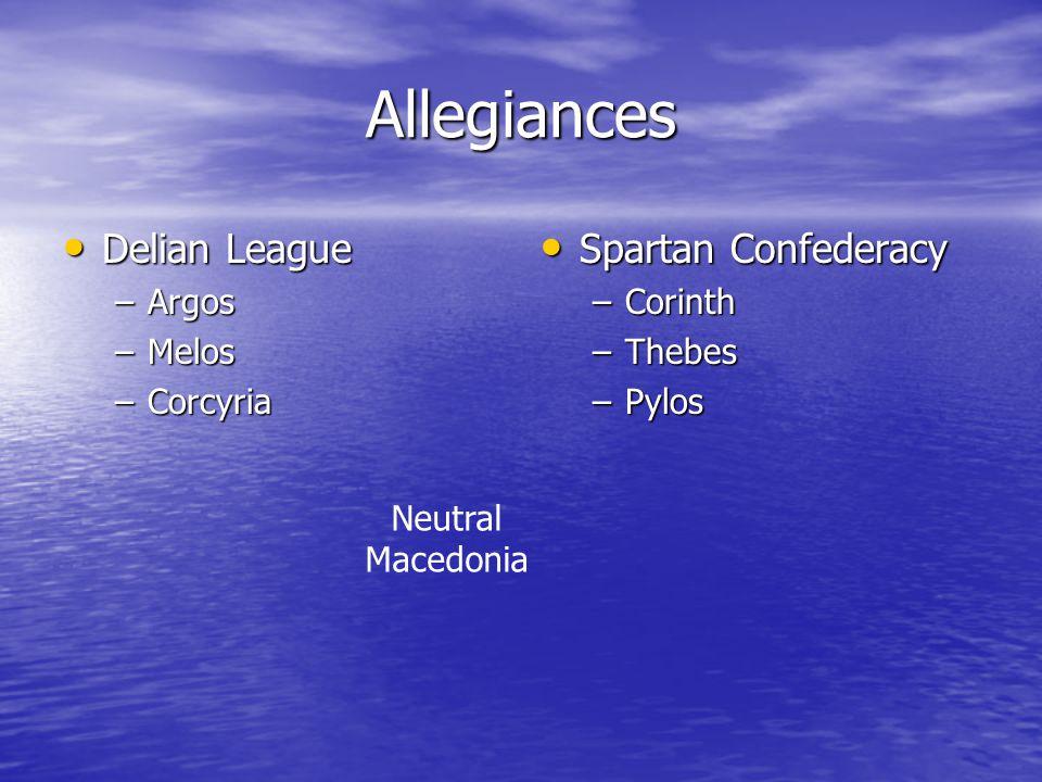 Allegiances Delian League Spartan Confederacy Argos Melos Corcyria