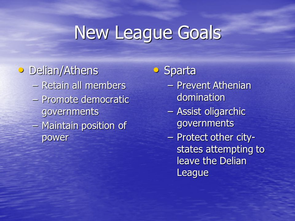 New League Goals Delian/Athens Sparta Retain all members