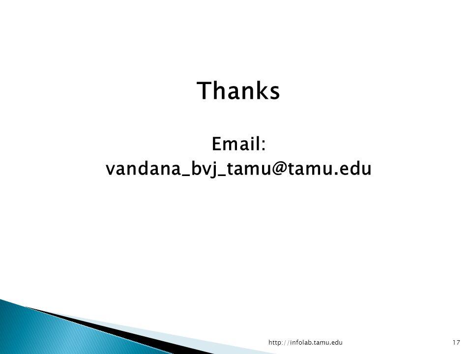 Thanks Email: vandana_bvj_tamu@tamu.edu http://infolab.tamu.edu http://scikit-learn.org/