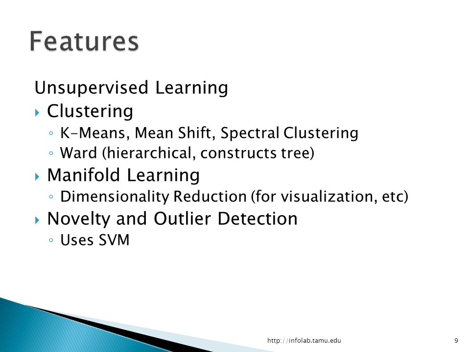 Features Unsupervised Learning Clustering Manifold Learning