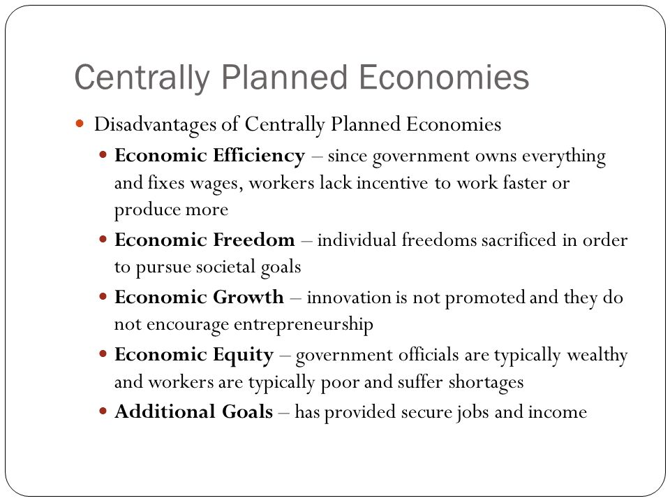 Centrally Planned Economies