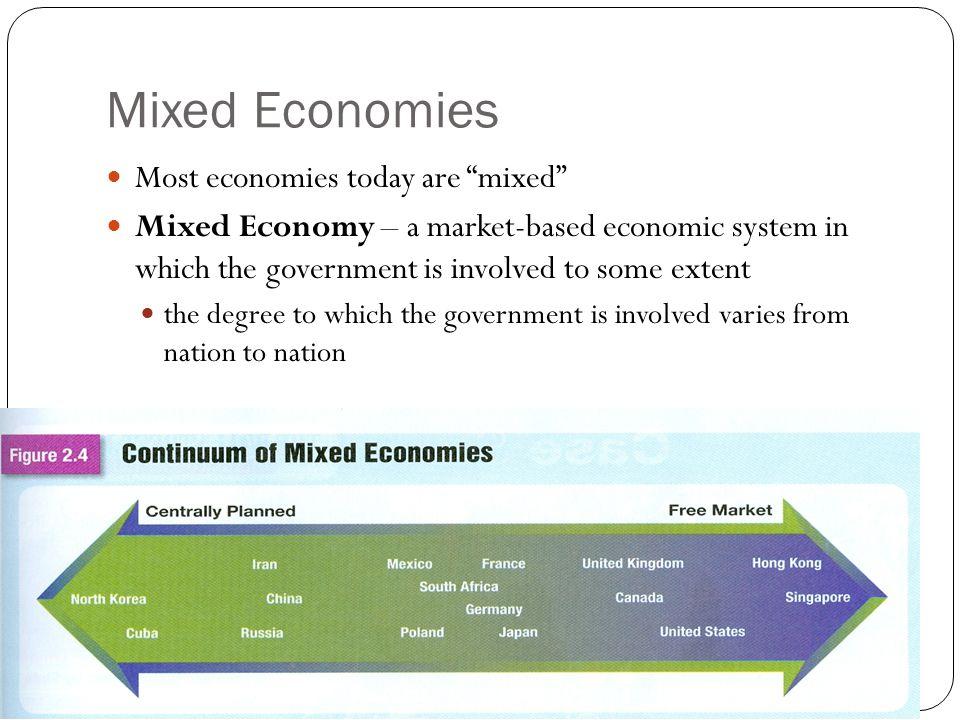 Mixed Economies Most economies today are mixed