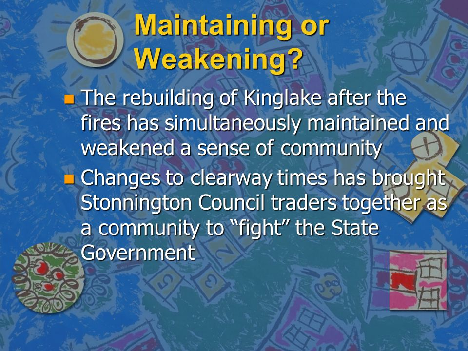 Maintaining or Weakening