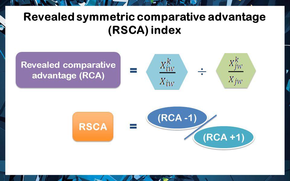 Revealed symmetric comparative advantage (RSCA) index