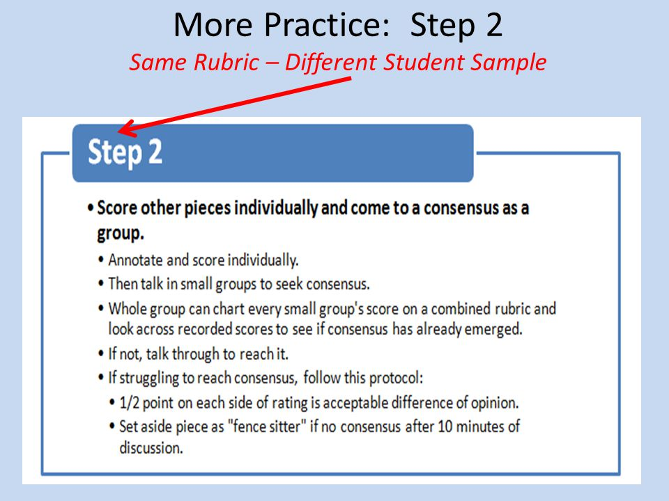 More Practice: Step 2 Same Rubric – Different Student Sample
